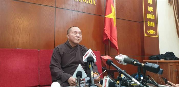 Hòa thượng Thích Gia Quang, Phó Chủ tịch Hội đồng Trị sự Giáo hội Phật giáo Việt Nam thông tin kết luận cuộc họp