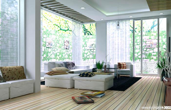 Phòng khách có nhiều cửa sổ