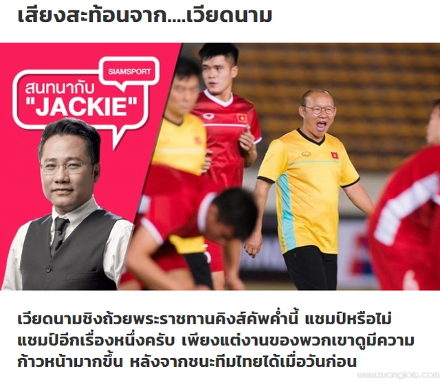 Tờ Siam Sport thừa nhận đội tuyển Việt Nam xứng đáng là số 1 Đông Nam Á