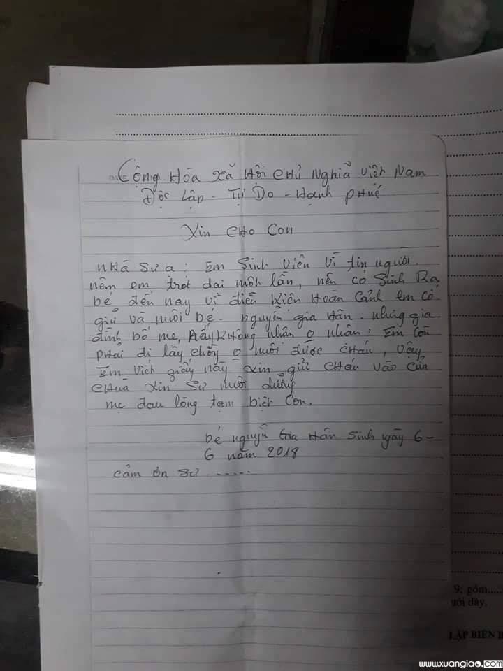 Lá thư người mẹ để lại tại nhà chùa