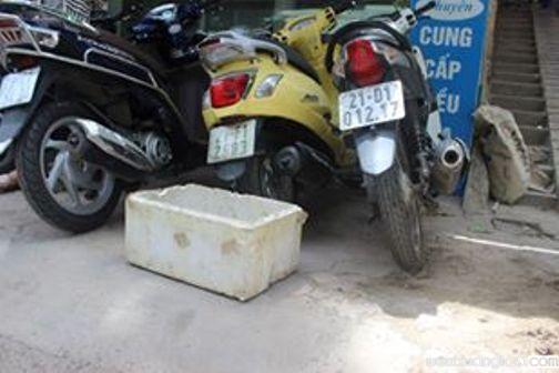 Thùng xốp nơi phát hiện cháu bé - Ảnh do bà Nguyễn Thị Kim Hoa cung cấp