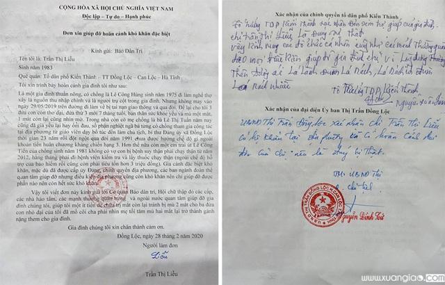 Lá đơn chị Liễu gửi tới Báo Dân trí mong nhờ sự giúp đỡ, sẻ chia với mẹ con chị trong lúc gặp hoạn nạn